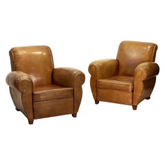 Art Deco Leather Club Chairs from France 'Priced as a Pair'