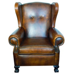 Art Deco Leather Ear Chair / Wingback Chair
