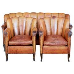 Art Deco Leather Shell Back 3-Piece Suite