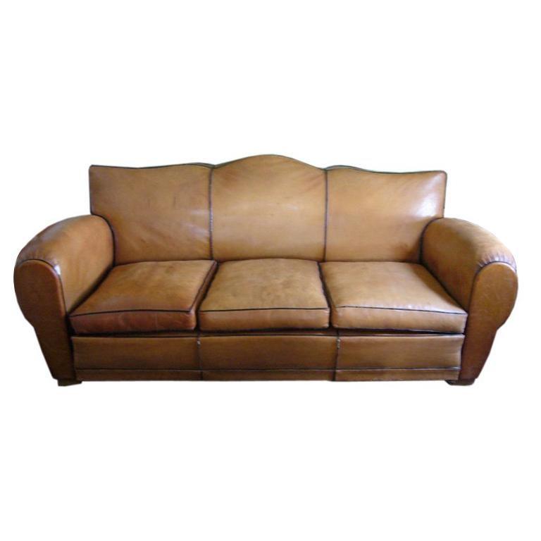 Art Deco Leather Sofa For Sale