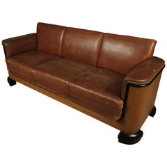 Art Deco Leather Sofa from Denmark, circa 1940