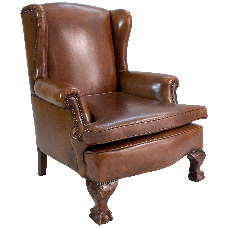 Art Deco Leather Wingback Armchair