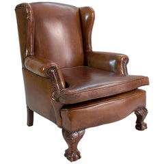 Art Deco Leather Wingback Armchair