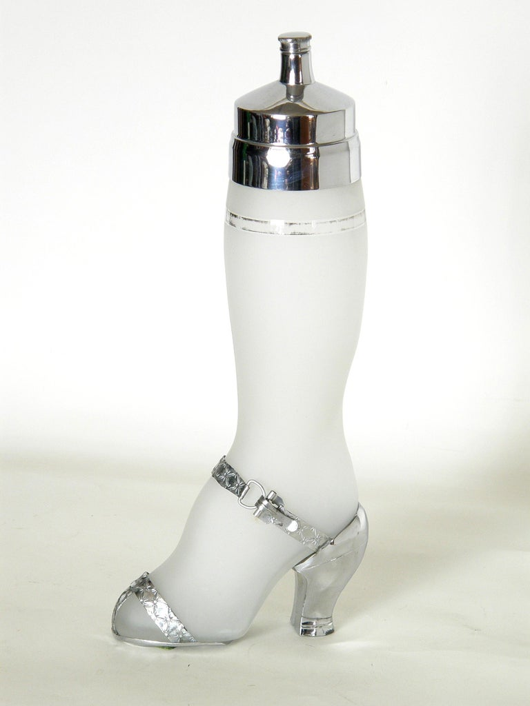 American Art Deco Leg Shaped Glass Cocktail Shaker with Chrome High Heeled Shoe For Sale