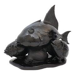 Art Deco Lejan Style Sculpture School of Fish