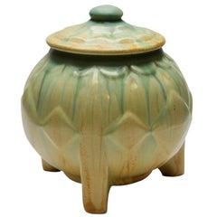 Art Deco Lidded Pot on Three Rectangular Feet with Drip Glazes
