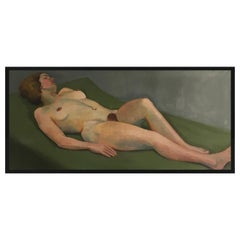 Art Deco Life-Size Nude Female Painting by Hertha Jirasko, Austria, 1930s
