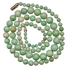 Art Deco Light Apple Green Jade Necklace Certified Untreated