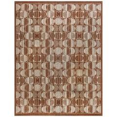 Art Deco Light Brown and Sand Geometric Handmade Wool Carpet