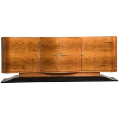 Art Deco Light Rosewood Four doors Black lacquered base Credenza or Sideboard