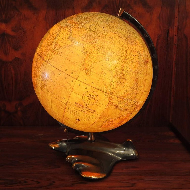 Art Deco Lighted Airplane Globe by Weber-Costello, 1948 For Sale 3