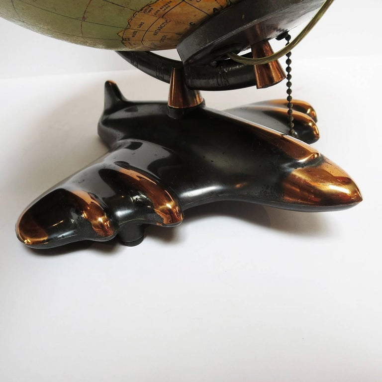 American Art Deco Lighted Airplane Globe by Weber-Costello, 1948 For Sale