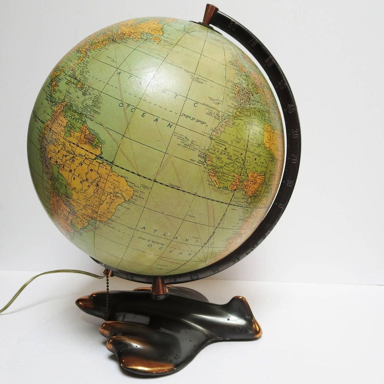 Art Deco Lighted Airplane Globe by Weber-Costello, 1948 In Good Condition For Sale In Los Angeles, CA