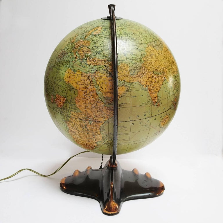 Mid-20th Century Art Deco Lighted Airplane Globe by Weber-Costello, 1948 For Sale