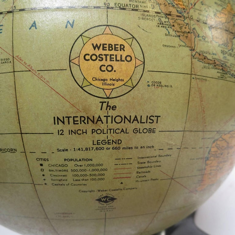 Art Deco Lighted Airplane Globe by Weber-Costello, 1948 For Sale 2
