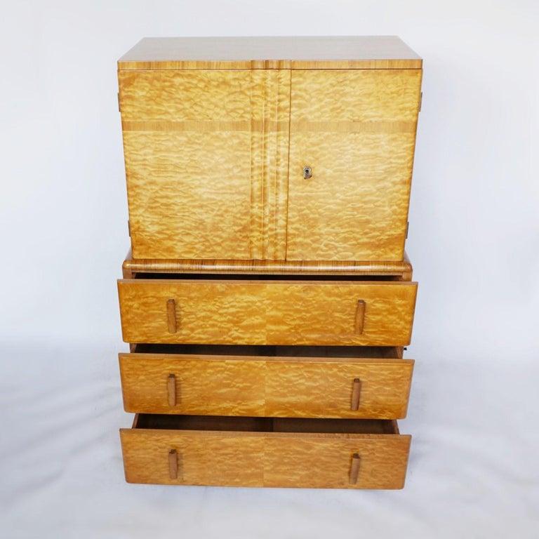 Mahogany Art Deco Linen Cabinet Satin Birch and Walnut Veneered, English, Circa 1935