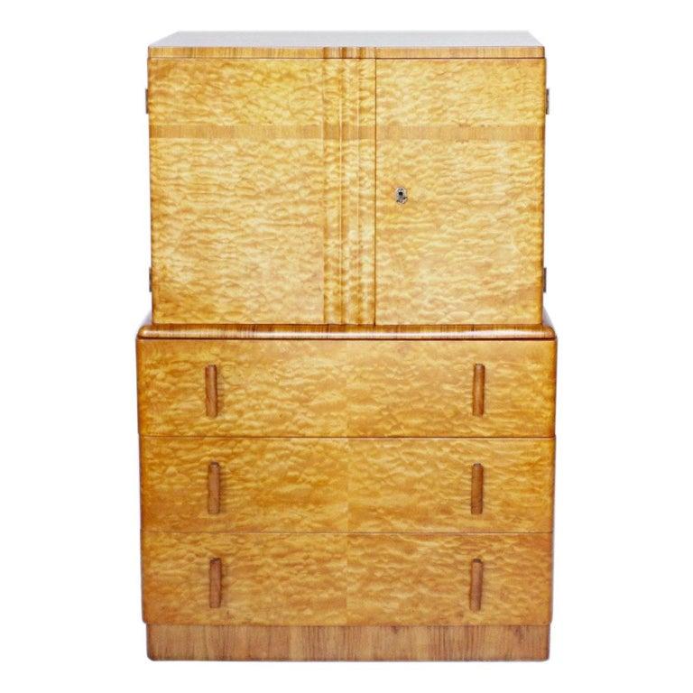Art Deco Linen Cabinet Satin Birch and Walnut Veneered, English, Circa 1935