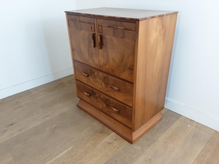 British Art Deco Linen Press For Sale