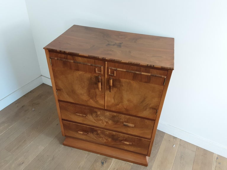 Walnut Art Deco Linen Press For Sale