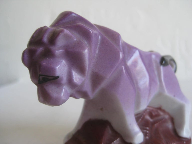 Superb Art Deco/cubist lion figural toothpick holder figurine. Dates from the 1930s and made of porcelain. Made in Japan by Nippon and marked on the bottom. Great form and design. In excellent shape with no issues.