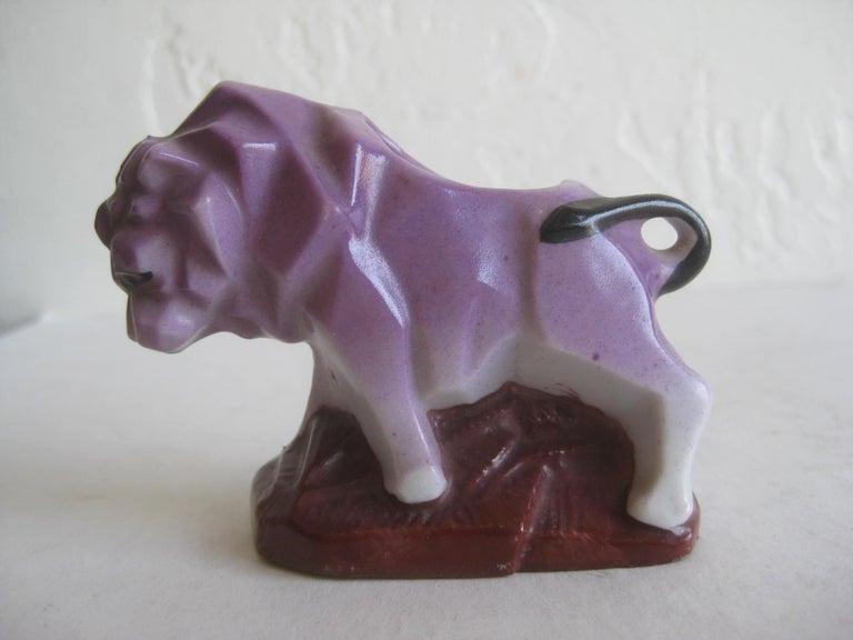 Art Deco Lion Cubist Figural Porcelain Toothpick Holder Vase Figurine by Nippon For Sale 1