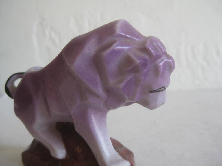 Art Deco Lion Cubist Figural Porcelain Toothpick Holder Vase Figurine by Nippon For Sale 5