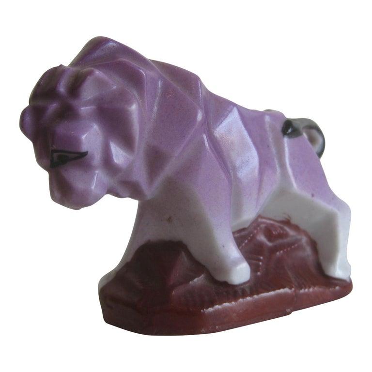 Art Deco Lion Cubist Figural Porcelain Toothpick Holder Vase Figurine by Nippon For Sale
