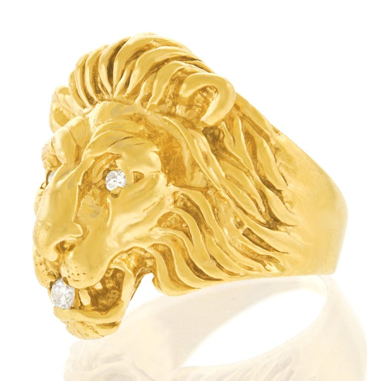 Art Deco Lion Diamond-Set Ring In Excellent Condition In Litchfield, CT