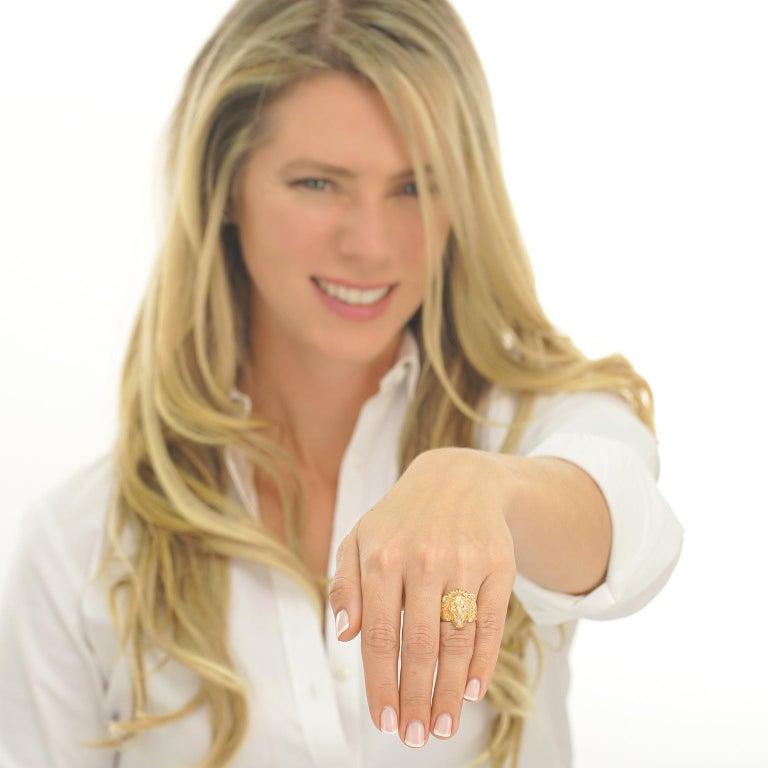 Women's or Men's Art Deco Lion Diamond-Set Ring