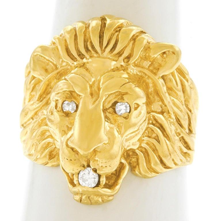 Art Deco Lion Diamond-Set Ring 4