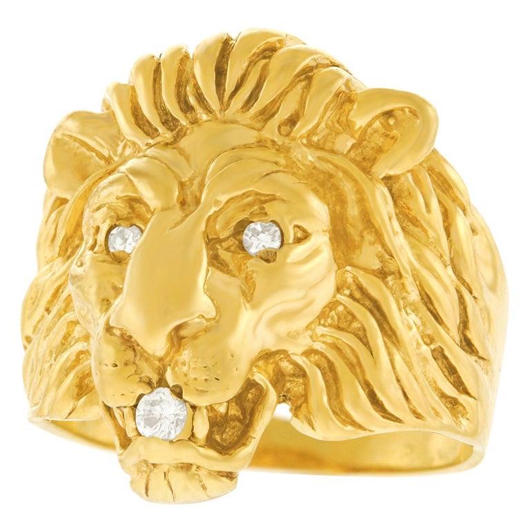 Art Deco Lion Diamond-Set Ring