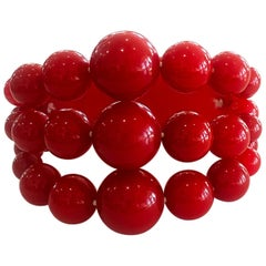 Art Deco Lipstick Red bakelite bead stretch bracelet