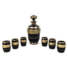 Art Deco Liquor Set Black and Gold, De Rupel Boom, Belgium