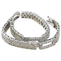 Art Deco Look Diamond Bracelet in 18 Karat White Gold