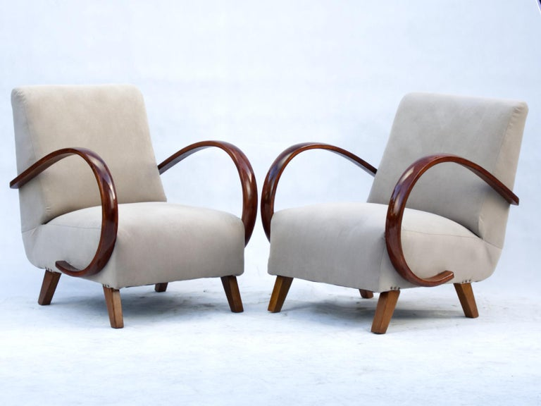 Czech Art Deco Lounge Chairs by Jindrich Halabala for UP Zavody Brno, 1930s For Sale