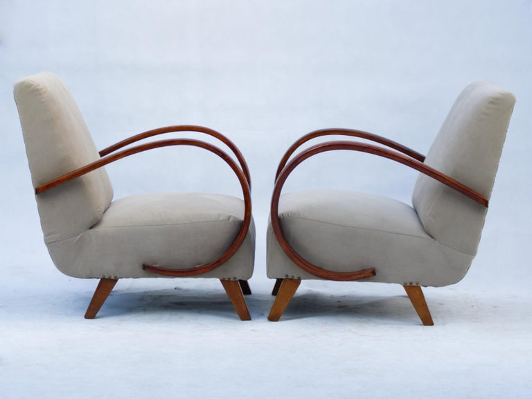 Art Deco Lounge Chairs by Jindrich Halabala for UP Zavody Brno, 1930s In Excellent Condition For Sale In Lucenec, SK