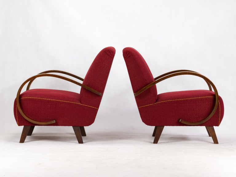 Art Deco Lounge Chairs by Jindrich Halabala for UP Zavody Brno, 1930s In Good Condition For Sale In Lucenec, SK