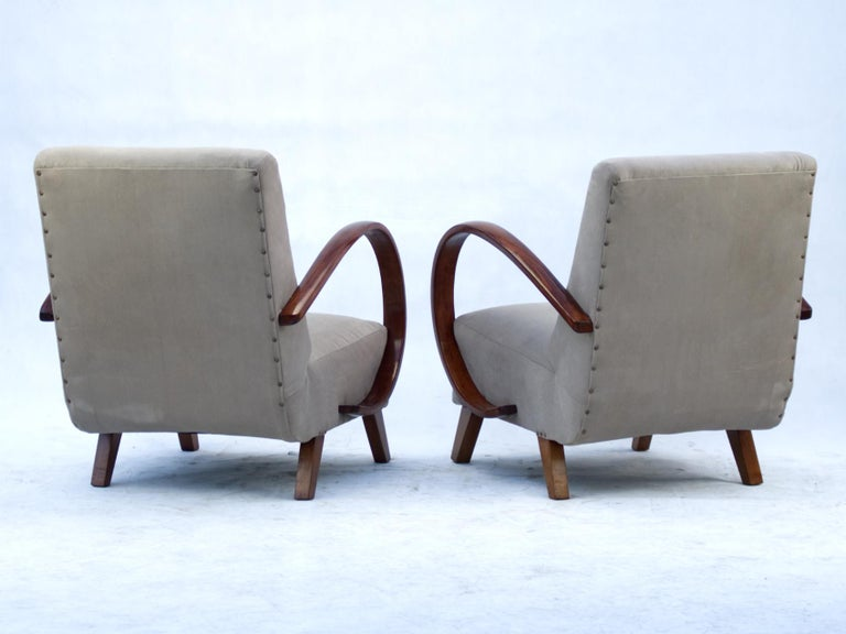 Mid-20th Century Art Deco Lounge Chairs by Jindrich Halabala for UP Zavody Brno, 1930s For Sale