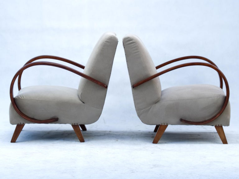 Bentwood Art Deco Lounge Chairs by Jindrich Halabala for UP Zavody Brno, 1930s For Sale