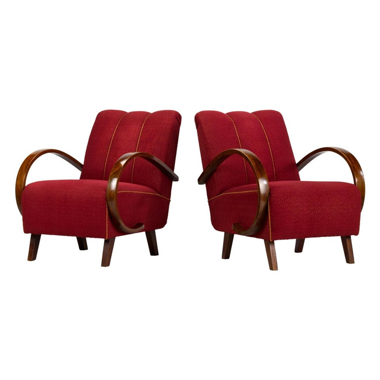 Art Deco Lounge Chairs by Jindrich Halabala for UP Zavody Brno, 1930s For Sale