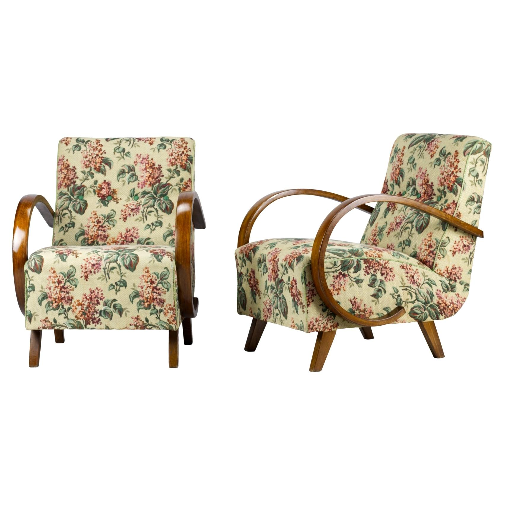 Art Deco Lounge Chairs by Jindrich Halabala for UP Zavody Brno, 1930s