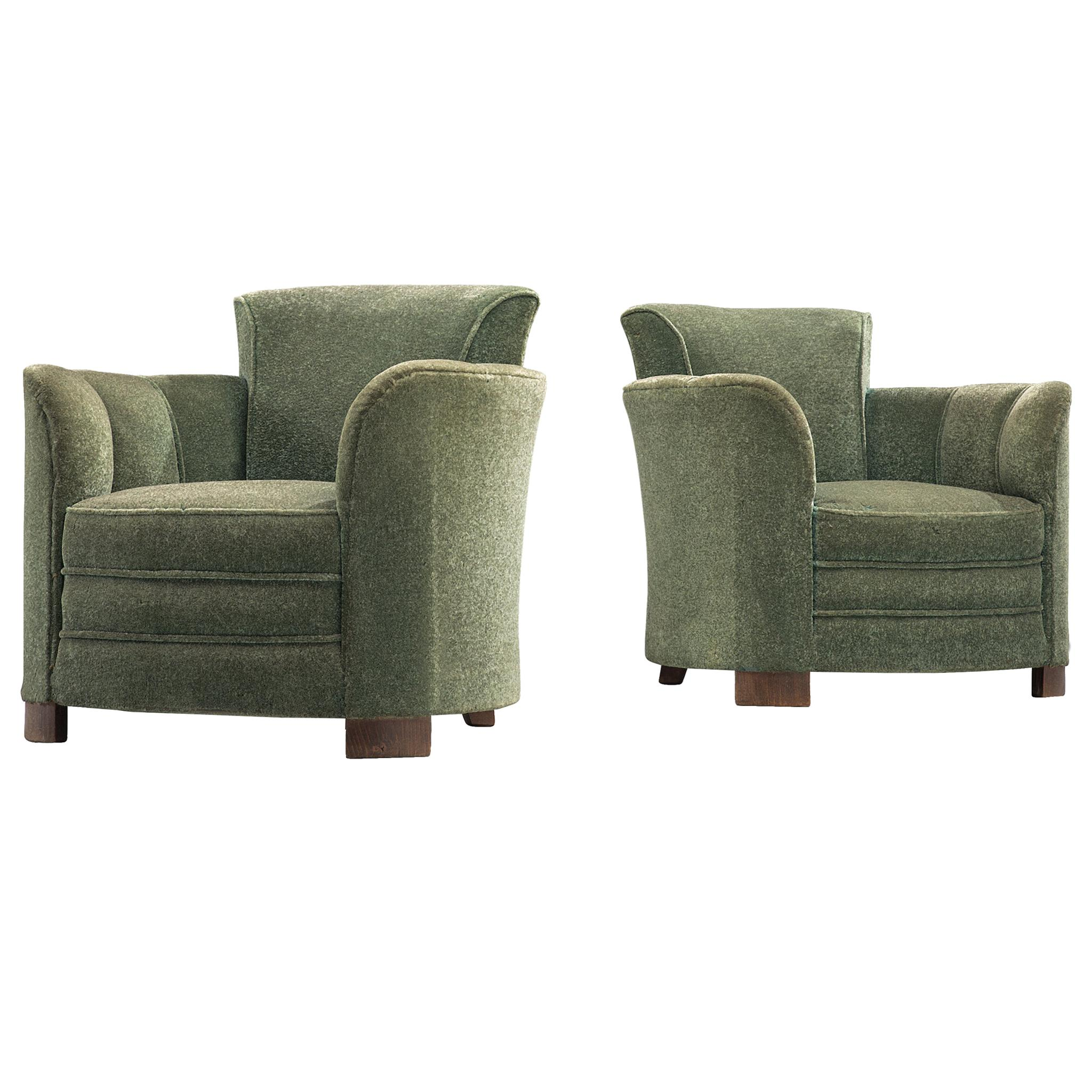 Art Deco Lounge Chairs in Green Velours, 1940s