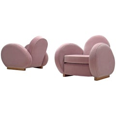 Art Deco Lounge Chairs in Soft Pink Upholstery