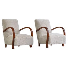 Art Deco Lounge Chairs in White Sheepskin and Stained Beech, Denmark, 1930s