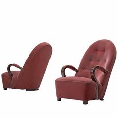 Art Deco Lounge Chairs with Red Upholstery