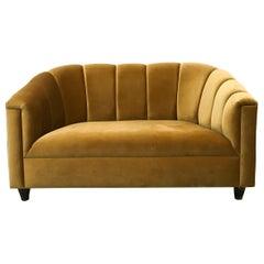 Art Deco Style Loveseat, Golden Velvet, by Watt Studio