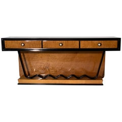 Art Deco Low Console Chest of Drawer Precious Wood Brass Bakelite Handles