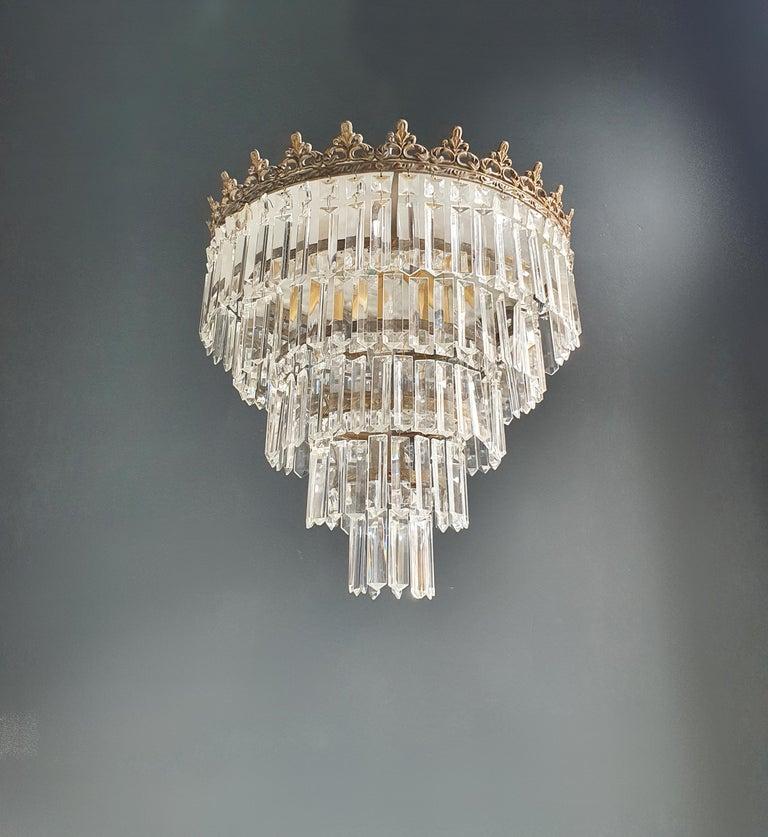 European Art Deco Low Plafonnier Brass Crystal Chandelier Lustre Ceiling Lamp Antique For Sale