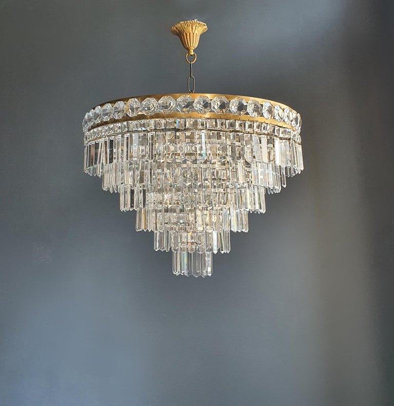 Hand-Knotted Art Deco Low Plafonnier Brass Crystal Chandelier Lustre Ceiling Lamp Antique For Sale