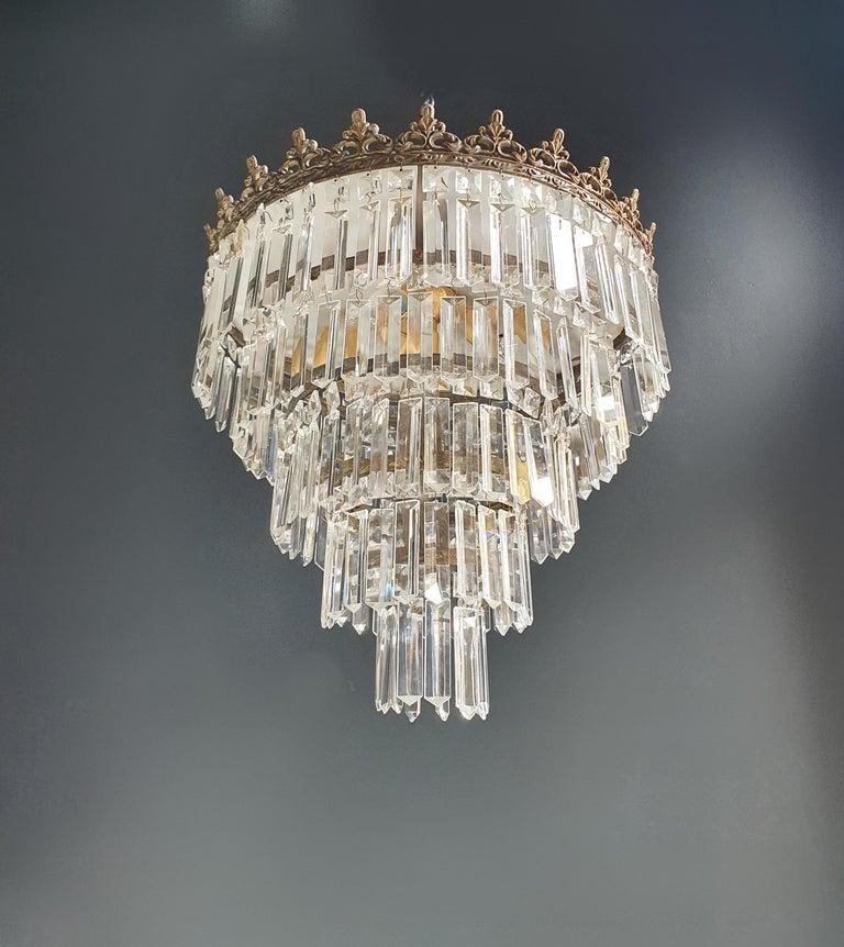 Art Deco Low Plafonnier Brass Crystal Chandelier Lustre Ceiling Lamp Antique In Good Condition For Sale In Berlin, DE